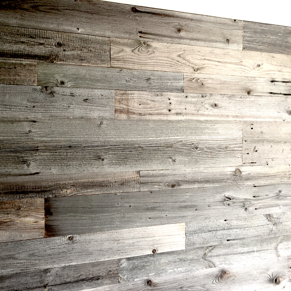 Grey barn wood claddings for wall decoration for Colorado reclaimed wood